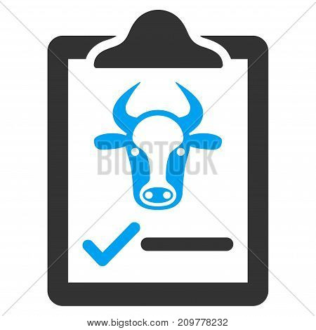 Cattle Contract vector icon. Flat bicolor blue and gray symbol. Pictogram is isolated on a white background. Designed for web and software interfaces.