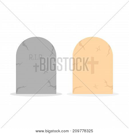 two simple tombstone icon. concept of affliction, fatal, abbey, funerary crypt, mystery, mournful, funereal set. flat style trend modern unusual logo design art vector illustration on white background