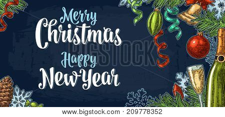 Merry Christmas Happy New Year calligraphy lettering and champagne glass, bottle, serpentine, rocket, snowflake, pine cone, candle, toy, fir branch. Vector vintage color engraving on dark blue fond
