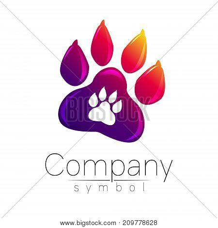 Symbol of pet paw. Animal sign for company, shop, web, medicine, veterinarian and clinic. Vector emblem dog foot. Vioet gradient logo. Bright modern logotype. Isolated on white background.