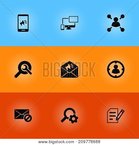 Collection Of Sale, Targeting, Responsive And Other Elements.  Set Of 9 Optimization Icons Set.