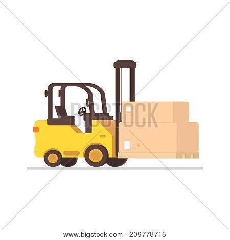 Forklift truck with boxes on wooden pallet in flat style. Vector illustration isolated on white