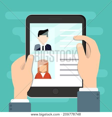 Vector concept of human resources management professional staff research head hunter job with magnifying glass. Male and female faces app icons