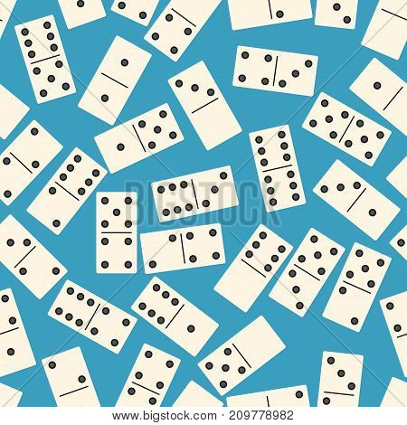 Seamless pattern with Domino on blue background. Board game. Vector illustration.