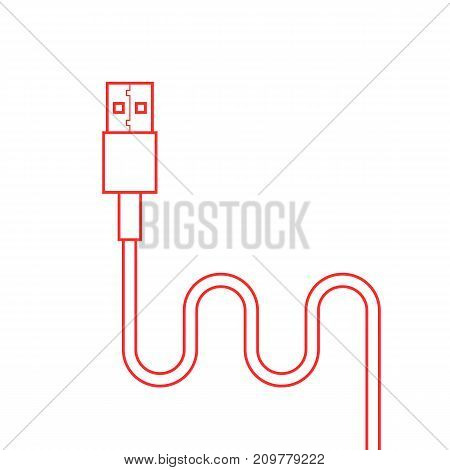 red thin line usb cable. concept of connection, transmit, communication, component, data transmission, universal serial bus. flat style trend modern logo design vector illustration on white background