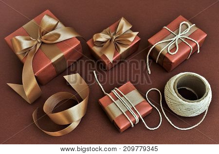 Preparation of gifts for the holiday, packaging and decor.