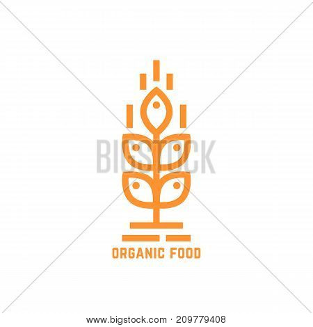 orange simple organic food logo. concept of brewery, unusual visual identity, vegetarian, raw meal, ripe, diet, nature. flat style modern brand graphic design vector illustration on white background