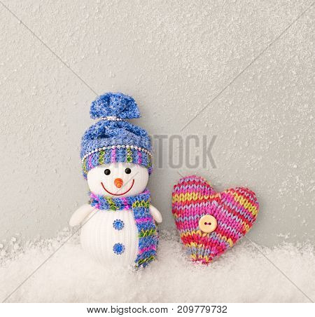 Valentines Day. Happy Snowman. Design Heart Handmade, Snowflakes. Christmas holiday winter, Valentines. Christmas Colorful snowman with heart. Fun Festive Art Greeting Card, Love concept