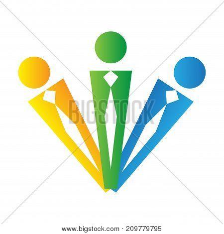 Teamwork logo isolated on white background, Business vector illustration