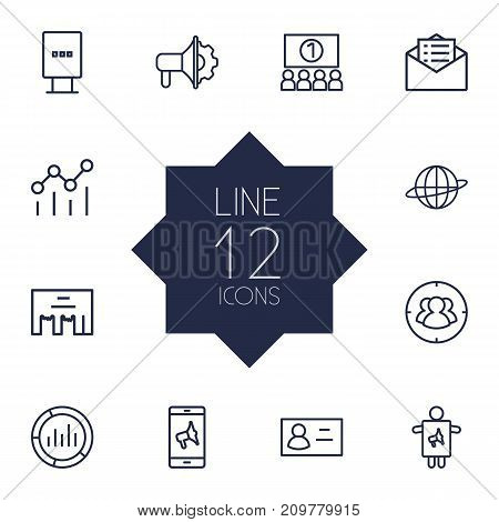 Collection Of Market, Campaign, Business Card And Other Elements.  Set Of 12 Advertising Outline Icons Set.