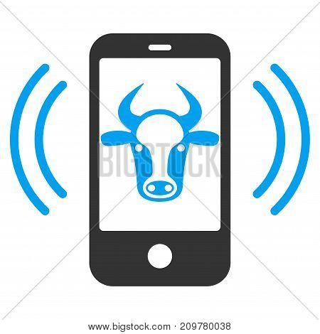 Cow Mobile Control vector icon. Flat bicolor blue and gray symbol. Pictogram is isolated on a white background. Designed for web and software interfaces.