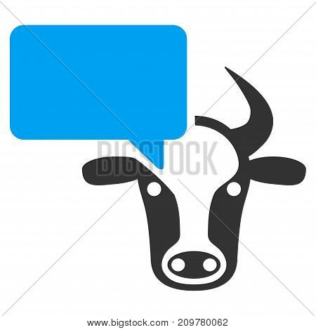 Cow Opinion vector icon. Flat bicolor blue and gray symbol. Pictogram is isolated on a white background. Designed for web and software interfaces.