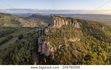 Aerial view of Solutre rock in Burgundy at sunrise