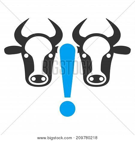 Cow Problem vector icon. Flat bicolor blue and gray symbol. Pictogram is isolated on a white background. Designed for web and software interfaces.