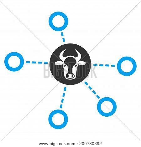 Cow Relations vector icon. Flat bicolor blue and gray symbol. Pictogram is isolated on a white background. Designed for web and software interfaces.