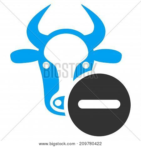 Cow Remove vector icon. Flat bicolor blue and gray symbol. Pictogram is isolated on a white background. Designed for web and software interfaces.