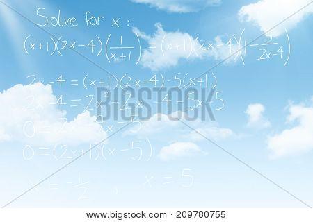 Equations over black background against blue sky