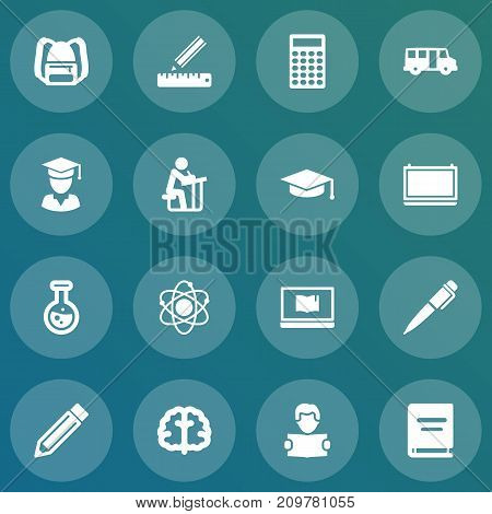 Collection Of School Autobus, Diplomaed Male, Blackboard And Other Elements.  Set Of 16 Education Icons Set.