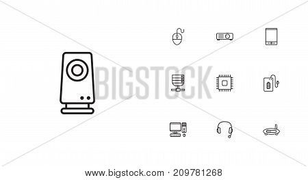 Collection Of Tablet, Projector, Computer Mouse And Other Elements.  Set Of 10 Laptop Outline Icons Set.