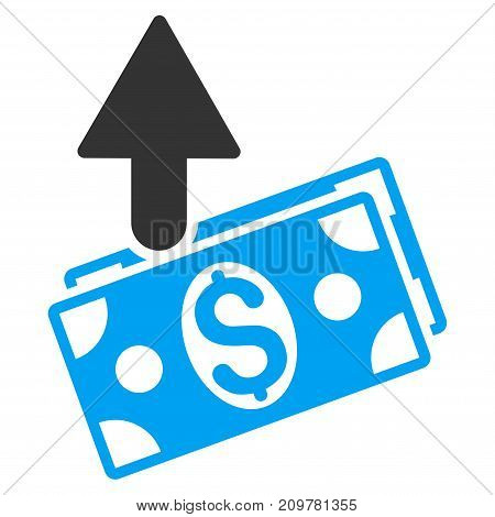 Expences vector icon. Flat bicolor blue and gray symbol. Pictogram is isolated on a white background. Designed for web and software interfaces.