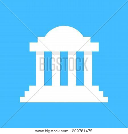 white greek colonnade building. concept of corinthian, structure, library, facade, rome, university, doric, acropolis, ruin. flat style trend modern logotype graphic design on blue background