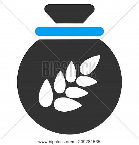 Grain Harvest Sack vector icon. Flat bicolor blue and gray symbol. Pictogram is isolated on a white background. Designed for web and software interfaces.