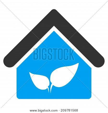 Greenhouse vector icon. Flat bicolor blue and gray symbol. Pictogram is isolated on a white background. Designed for web and software interfaces.