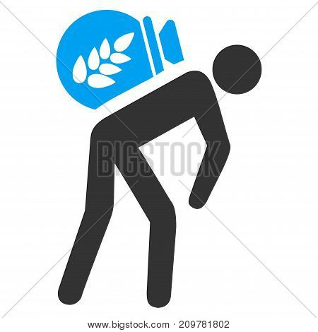 Harvest Porter vector icon. Flat bicolor blue and gray symbol. Pictogram is isolated on a white background. Designed for web and software interfaces.