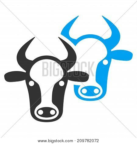 Livestock vector icon. Flat bicolor blue and gray symbol. Pictogram is isolated on a white background. Designed for web and software interfaces.