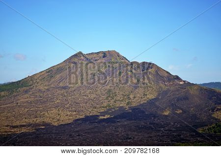 The Sleeping Volcano And The Lava Fields Around It.