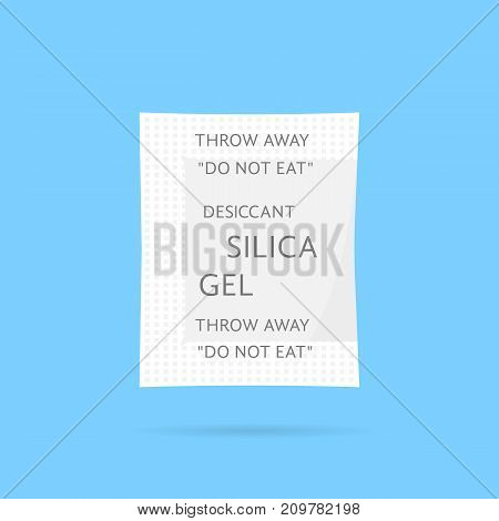 white silica gel package with shadow. concept of arid, silicas, chemical on blue background