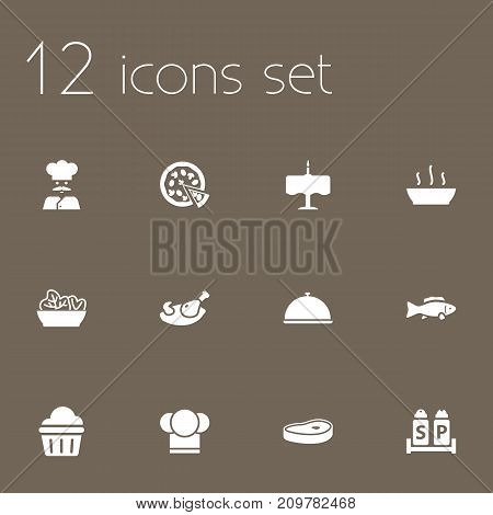 Collection Of Condiments, Dinner Desk, Tray And Other Elements.  Set Of 12 Cafe Icons Set.