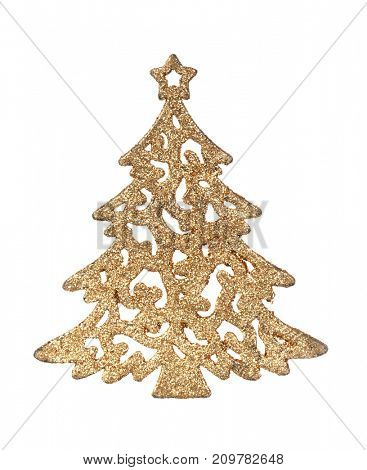 Bright golden Christmas tree isolated on a white background