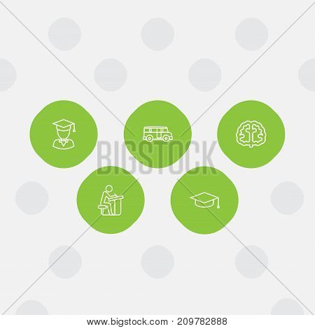 Collection Of Brain, Bus, Pupil And Other Elements.  Set Of 5 Education Outline Icons Set.