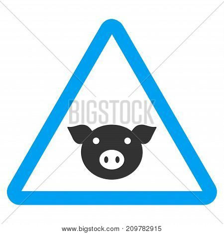 Pig Warning vector icon. Flat bicolor blue and gray symbol. Pictogram is isolated on a white background. Designed for web and software interfaces.