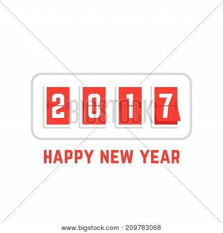 happy new year with 2017 scoreboard on white background