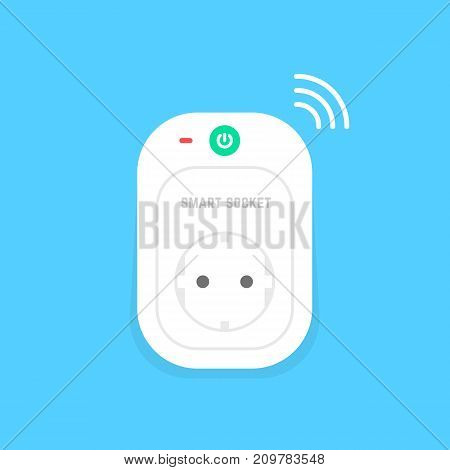 white smart power socket icon. concept of charger, electrical device, on blue background