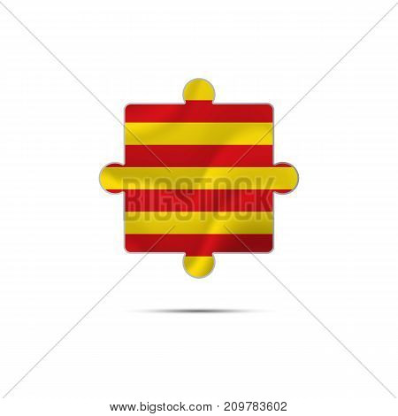 Isolated piece of puzzle with the Catalonia flag. Vector illustration.