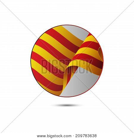 Catalonia flag button with shadow on a white background. Vector illustration.
