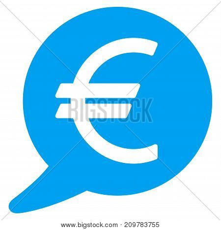 Euro Message Balloon vector icon. Flat blue symbol. Pictogram is isolated on a white background. Designed for web and software interfaces.