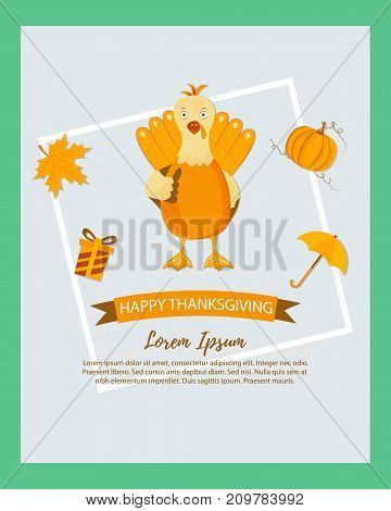 Holiday banner with turkey for Thanksgiving day
