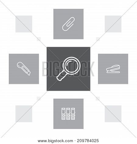 Collection Of Puncher, Zoom Glasses, File Folder And Other Elements.  Set Of 5 Stationery Outline Icons Set.