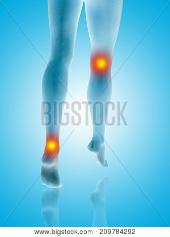 Conceptual beautiful woman or girl legs and feet with a hurt knee and ankle pain or ache. 3D illustration of human slim fit body medical health care concept, painful sport injury on blue background