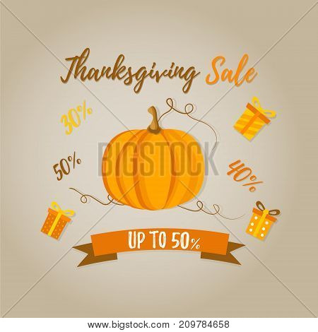 Holiday banner with pumpkin for Thanksgiving day sale