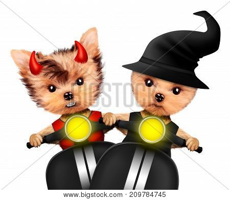 Funny cartoon animal devil and witch sit in black bike. Halloween and Dead day concept. Realistic 3D illustration.