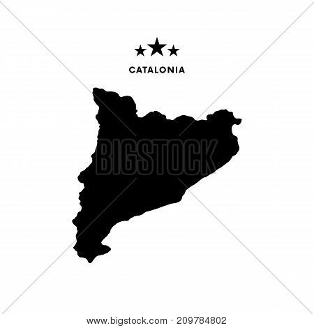 Catalonia map. Stars and text. Vector illustration.