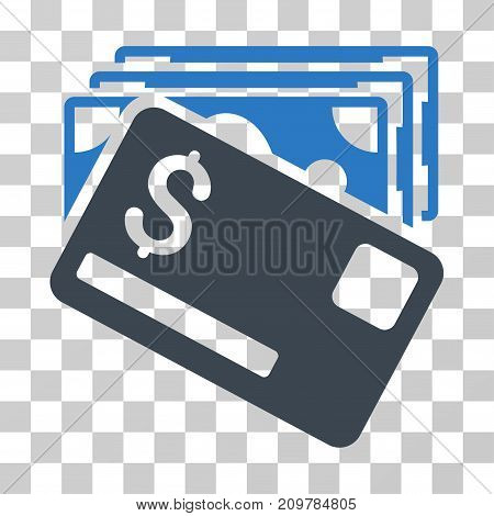 Banknotes And Card icon. Vector illustration style is flat iconic bicolor symbol, smooth blue colors, transparent background. Designed for web and software interfaces.