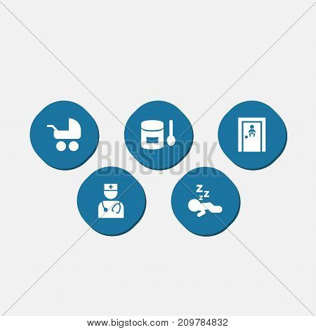 Collection Of Food, Room, Pediatrist And Other Elements.  Set Of 5 Baby Icons Set.