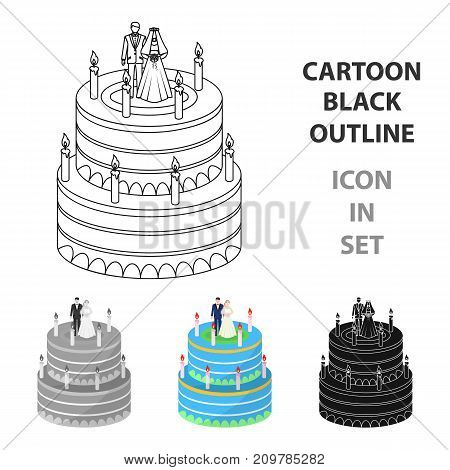 a wedding cake. Treat guests to the wedding.Wedding single icon in cartoon style vector symbol stock web illustration.
