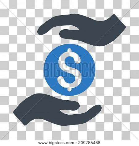 Business Insurance Hands icon. Vector illustration style is flat iconic bicolor symbol, smooth blue colors, transparent background. Designed for web and software interfaces.